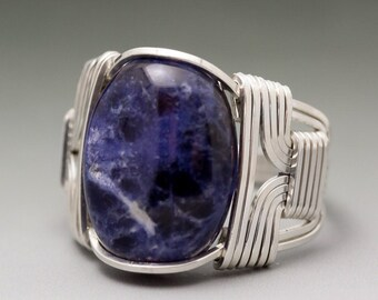 Sodalite Gemstone Cabochon Sterling Silver Wire Wrapped Ring - Made to Order and Ships Fast!
