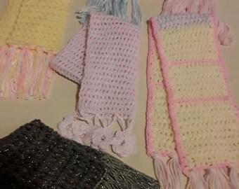 Handmade crocheted scarves for kids
