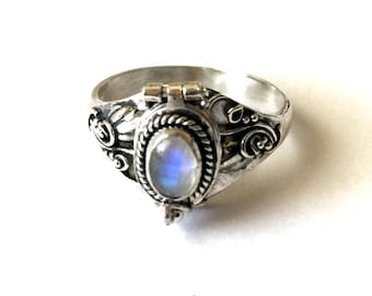 Rainbow Moonstone Poison Ring Bali Sterling Silver Locket Ring June birthday birthstone AR04