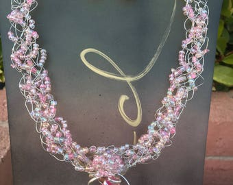 Bead and wire Crochet Necklace and Earring Set