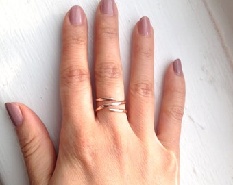 Spiral Ring (Pink/Rose Gold Filled), Stacking Coil Finger, Midi or Knuckle Ring