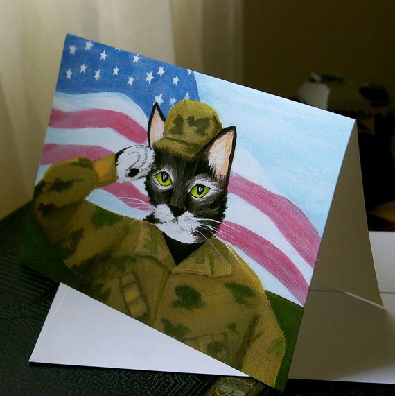 Army Soldier Cat Greeting Card