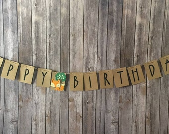 Woodland theme Banner, Woodland Birthday, Woodland Babyshower, Forest Animals