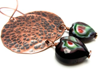 Big Bold copper purple glass hearts EARRINGS ~ Statement earrings ~ These are great dangles