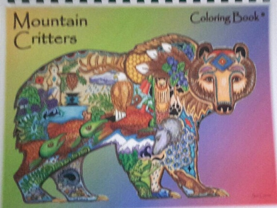 Animal Spirit coloring book by Sue Coccia Mountain Critters book pen and ink images within images, of bears, big foot, deer, eagles and more