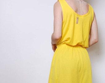 Yellow Tank Top Tee Shirt Dress // Julie Girl // Mint Condition // flawless // Large
