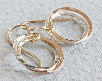 Gold Circle Earrings, Infinity Earrings, Gold and Silver Earrings, Gold Dangle Earrings, Artisan Jewelry, Geometric Earrings for Women