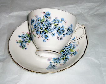 Royal Vale china , English china , teacup and saucer , vintage tea cup , floral tea cup , fine bone china , floral pattern  , blue flowers