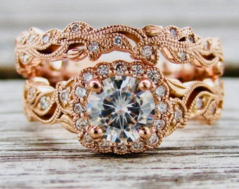 Forever Brilliant Moissanite Engagement Ring & Matching Wedding Band in 14K Rose Gold with Natural Diamonds in Flower Leaf Settings Size 8