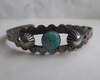 Vintage Zuni Native American Sterling Silver Turquoise Cuff Bracelet