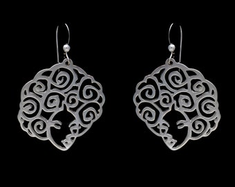 Sterling Silver Filigree Afro Earrings
