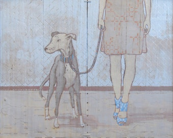 The Dog Walker painting - archival print - reproduction of acrylic and mixed media on reclaimed fence boards
