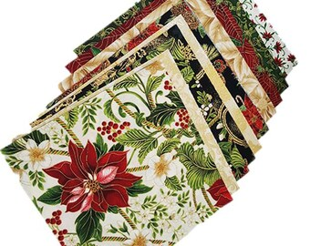 Charm Pack - Holiday Print Fabrics - 10 inch squares - 2 each - 10 Different Fabrics