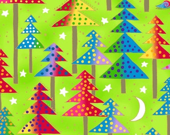 Laurel Burch, Metallic, Trees on Lime Cotton Woven, Enchantment, by Clothworks