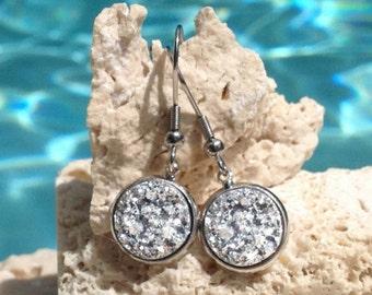 Silver druzy earrings, silver sparkly earrings, druzy earrings, druzy drop earrings, silver drop earrings, bridesmaid gift, Earring#SVR106
