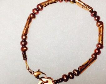 Handmade Copper and Pearl Bracelet