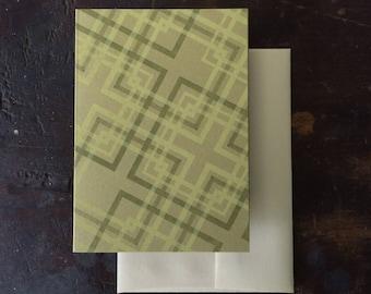 Lovers' Knot Letterpress Notecard - Lemon and Olive on Sage