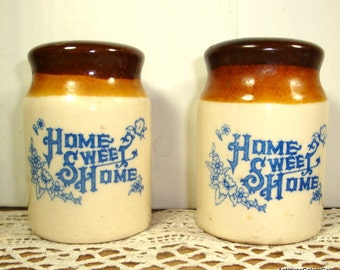 Vintage Home Sweet Home Salt and Pepper Shakers, Ceramic