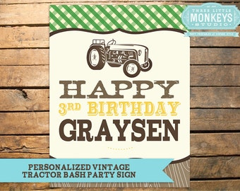 Personalized Vintage Tractor Bash Party Sign Poster