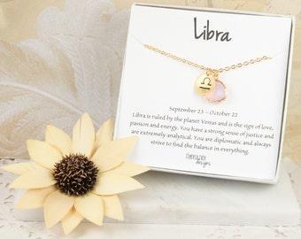 Libra Zodiac Gold Necklace, Libra October Necklace, October Birthday Jewelry, October Birthstone Necklace, Zodiac Necklace
