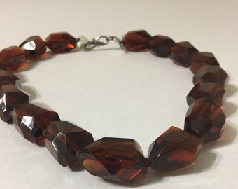 Chuncky handmade brown nugget necklace