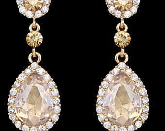 """PAIR Dangle Crystal Vintage Champagne Wedding Prom gauges plugs tunnels 2g 0g 00g 7/16"""" 1/2"""" 6mm 8mm 10mm 11mm 12mm"""