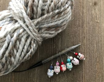 OWL stitch markers, stitch markers for knitting, gifts for knitters