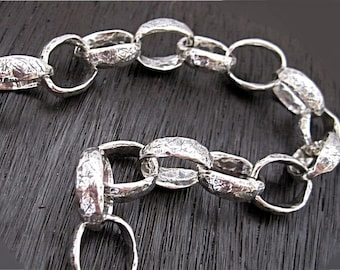 Large Artisan Textured Sterling Silver Oval Link Chain (multiple lengths available) (A)