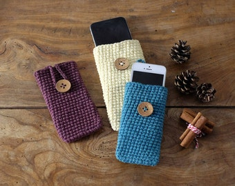 iPhone Gadget Case Organic Cotton Handmade Crochet