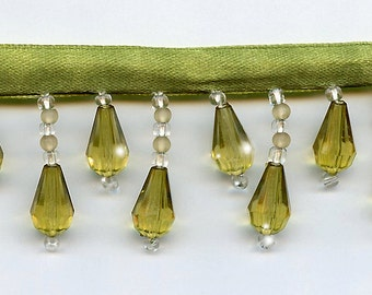 50% Off!  Avocado Green Beaded Fringe Trim.   Now Only 3.35 a Yard.  Over 50 colors available.