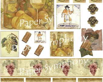 Wine Related Imagery Digital Collage Sheet Instant Download for Paper Arts, Scrapbooking, Mixed Media, Assemblage and MORE PSS 0552