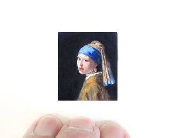 Print of miniature oil painting of Vermeer's girl with a pearl earring.  giclee print of tiny painting of old masters girl with a pearl
