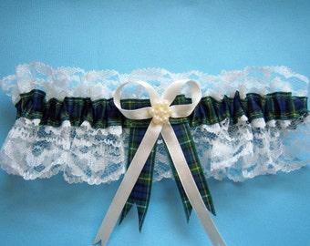 Campbell tartan wedding bridal garter. White or ivory lace.