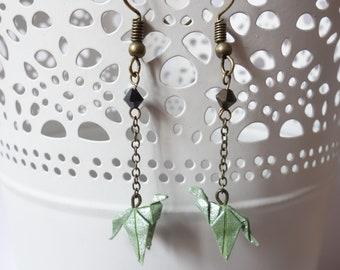 Bronze origami dragon earrings swarovski pearls