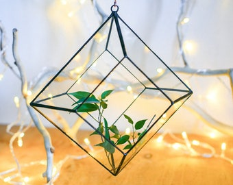Glass geometric terrarium - Handmade Geometric Terrarium - Pendant terrarium - Glass Planter- Home decor - Wedding table decor