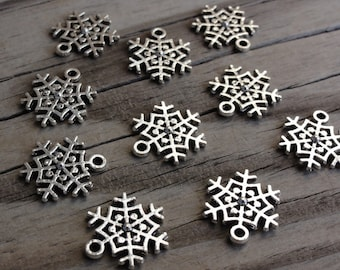 Metal Snowflake Charms - 15x14mm - Single-Sided Antiqued Silver Pendant