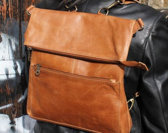 Amelie  Ruck Tan Leather Convertible Backpack
