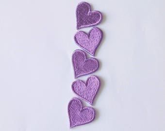 Lot of 5 Pieces Embroidered Tiny Purple Heart Iron on Patch