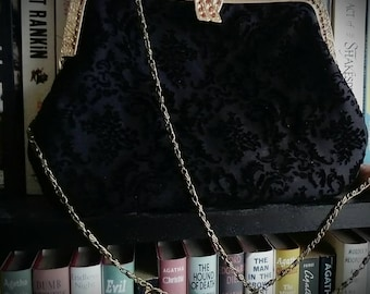 Black evening purse with detachable chain soft flocked Material