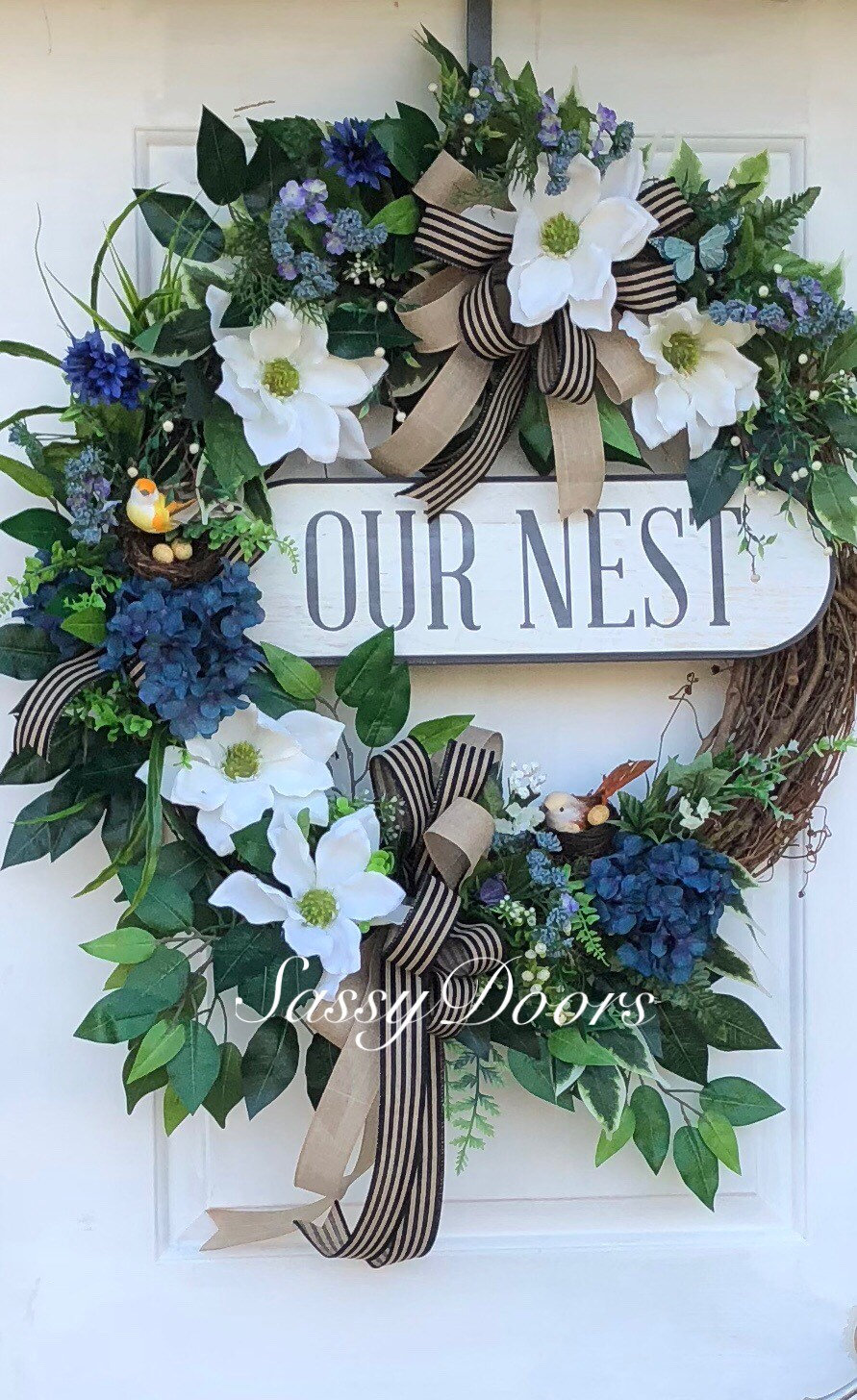Everyday Wreath, Grapevine Wreath, Magnolia Wreath, Front Door Wreath,  Sassy Doors Wreath, Hydrangeas Wreath, Blue Wreath