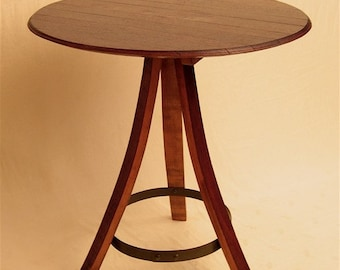 The Bistro round table recycled oak wine barrel, staves and head/top, 3 legs