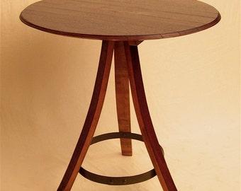 Le bistrot round table recyclé barrique vin, portées et tête/haut, 3 pattes