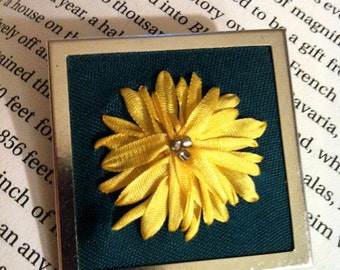 Embroidered Dandelion Beaded Brooch - Silk Ribbon Embroidery by BeanTown Embroidery