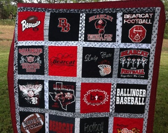 T-shirt Quilt Custom Made - Memory Quilt Made from 9 - 49 t shirts