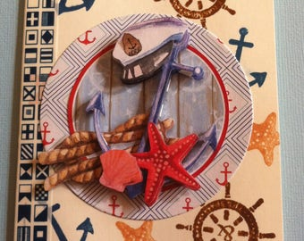 Customize card, marine theme, man,