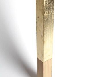 Wood Sculpture Minimalist Wood Art Gold Meditation Sculpture