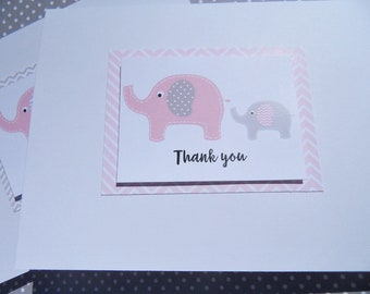 Baby Gift Thank You Cards - Baby Shower Thank You Cards - Baby Girl Cards - Baby Boy Cards - Baby Elephant Cards - petyc