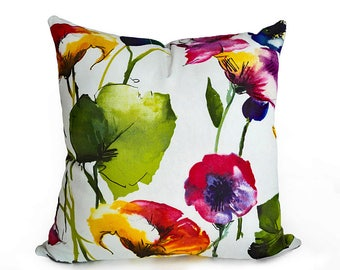 Spring Pillows, Floral Throw Pillow, Designer Pillows, Watercolor, Colorful Pillow Covers, Purple Pink Orange Green Yellow White, 18, 20, 22