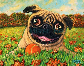 Autumn Pug with Ball Signed Print by Mister Reusch