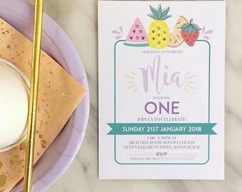 Tutti Frutti Birthday Girl Printable or Printed Invitation